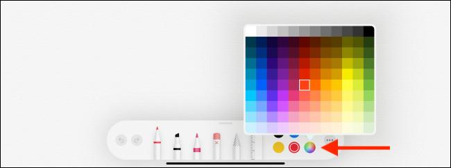Option Palette de couleurs dans l'application Notes