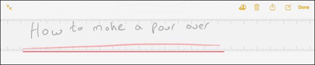 Règle dans l'application Notes