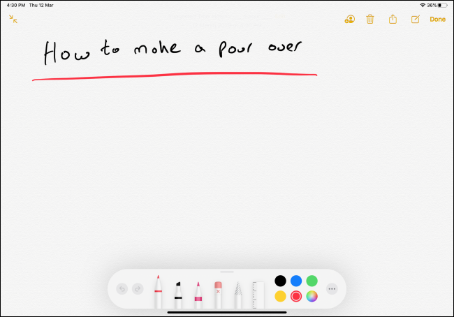 Note manuscrite dans l'application Notes sur iPad