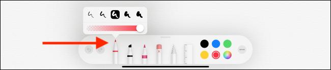Option d'outil Plume dans l'application Notes