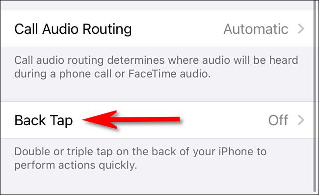 """Dans les paramètres Accessibility Touch sur iPhone, sélectionnez """"Retour Tap."""""""