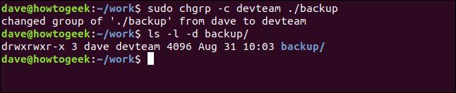 sudo chgrp -c devteam ./backup dans une fenêtre de terminal