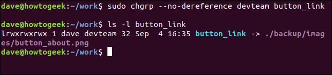 sudo chgrp --no-dereference devteam button_link dans une fenêtre de terminal