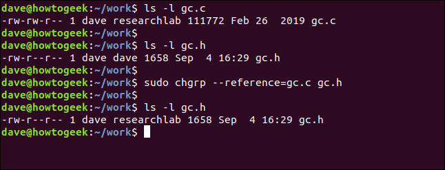 sudo chgrp --reference = gc.c gc.h dans une fenêtre de terminal