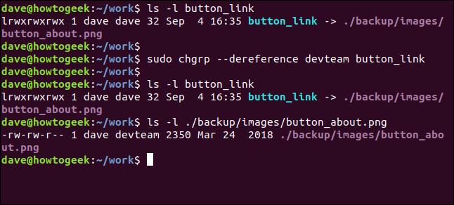 sudo chgrp --dereference devteam button_link dans une fenêtre de terminal