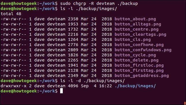 sudo chgrp -R devteam ./backup dans une fenêtre de terminal