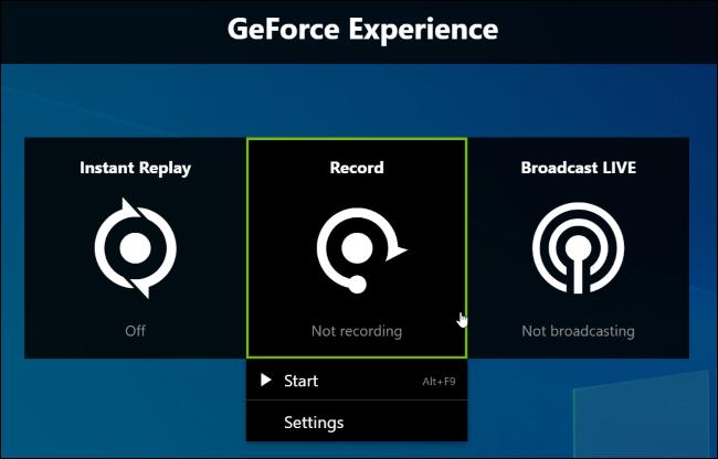 Activer l'enregistrement de jeu dans NVIDIA Share