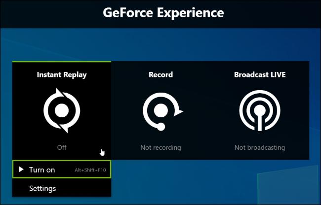 Activation de l'enregistrement en arrière-plan Instant Replay de NVIDIA