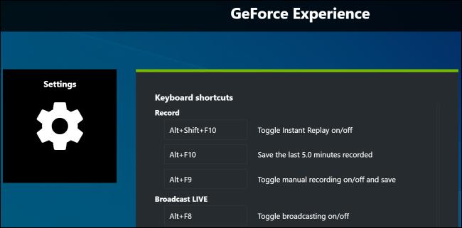 Modification des raccourcis clavier dans GeForce Experience