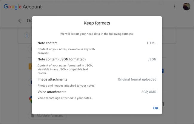Vérifiez les formats de fichier d'exportation de données Google Keep