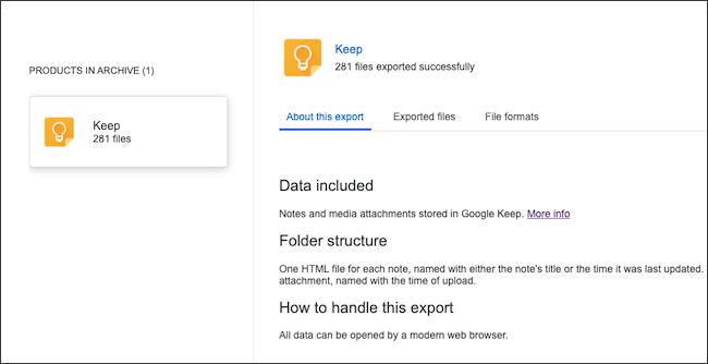 Une archive de données Google Keep.
