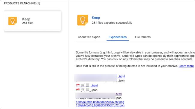 Google Conservez des notes dans une archive de données exportée.