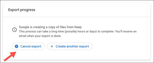 """Cliquez sur """"Annuler l'exportation"""" si tu changes d'avis."""