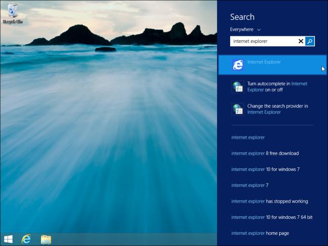 windows-8.1-panneau de recherche sur le bureau