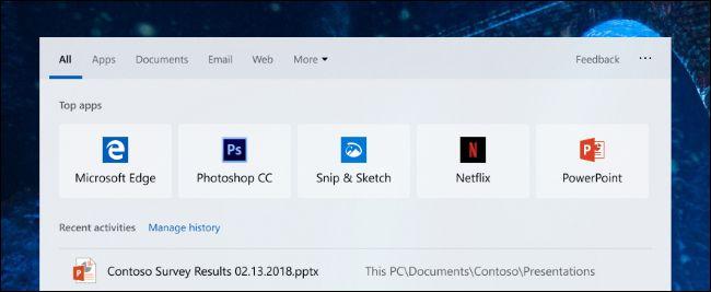 Meilleures applications dans la nouvelle boîte de dialogue de recherche de Windows 10