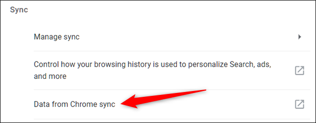 """Cliquez sur """"Données de Chrome Sync"""""""