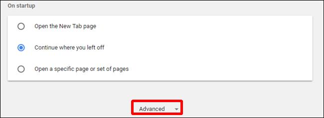 Sous Paramètres, cliquez sur Avancé, situé en bas de la page