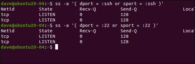 ss -a '(dport =: ssh ou sport =: ssh)' dans une fenêtre de terminal.