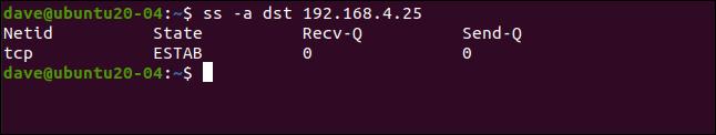 ss -a dst 192.168.4.25 dans une fenêtre de terminal.