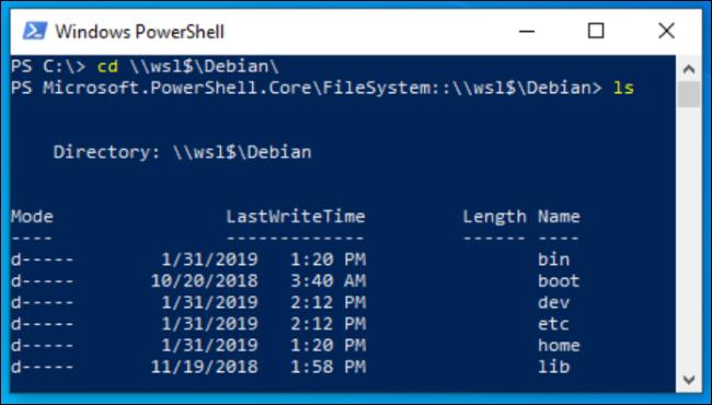 Fichiers Linux affichés dans PowerShell
