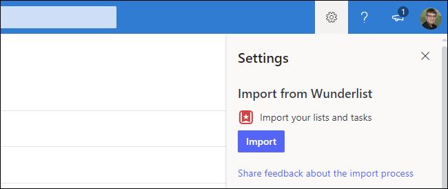 Comment importer des données Wunderlist dans Microsoft To Do sur le Web
