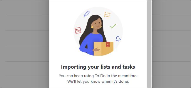 """le """"importation de tâches depuis Wunderlist"""" message dans Microsoft To Do"""