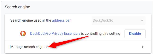 """Cliquer sur """"gérer les moteurs de recherche"""" sous la section Moteur de recherche."""