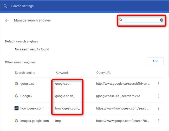 Tapez un trait de soulignement dans la barre de recherche pour localiser toutes les instances d'un mot clé en contenant un.