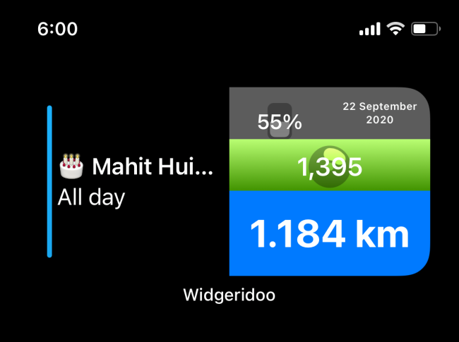 Aujourd'hui Widget dans Widgeridoo