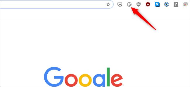 L'icône Vimium est grisée dans une fenêtre Chrome.