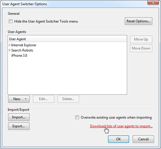 télécharger des listes d'agents utilisateurs à importer