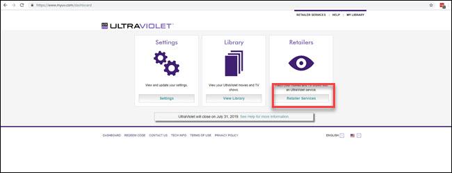 Site Web UltraViolet avec la section Services aux détaillants en surbrillance