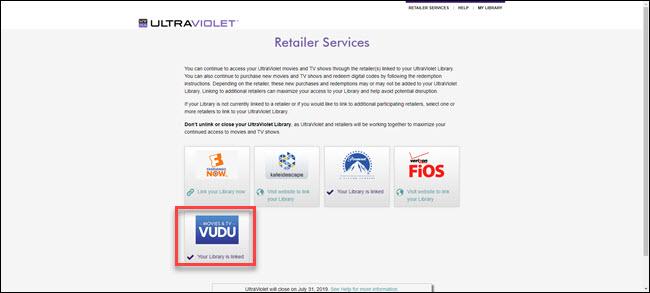 Options de services aux détaillants UltraViolet avec Vudu en surbrillance