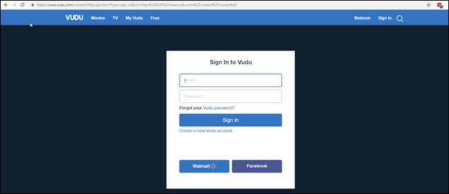 Page de connexion VUDU