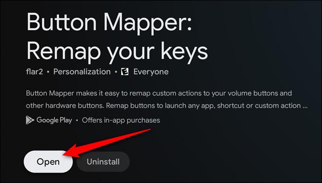 """Sélectionnez le """"Ouvert"""" bouton une fois que l'application Button Mapper est installée"""