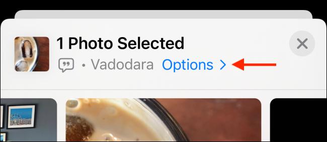 Appuyez sur Options de la feuille de partage