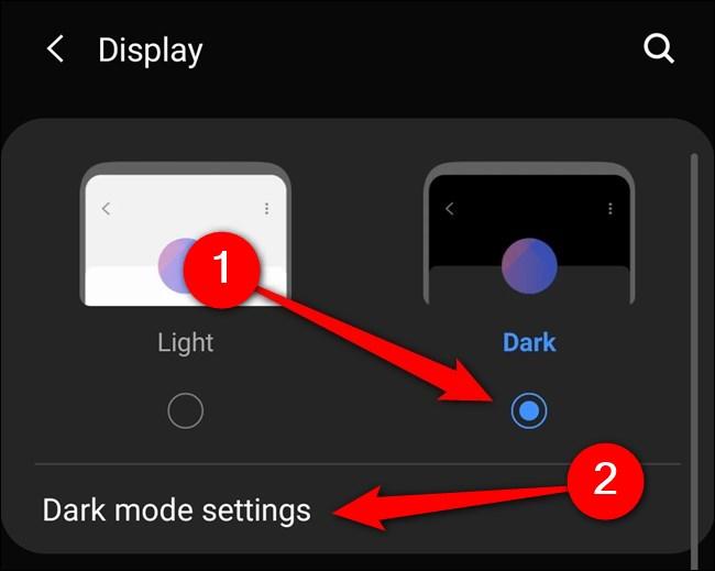 """Samsung Galaxy S20 Select """"Mode sombre."""" Vous pouvez également appuyer sur """"Paramètres du mode sombre."""""""
