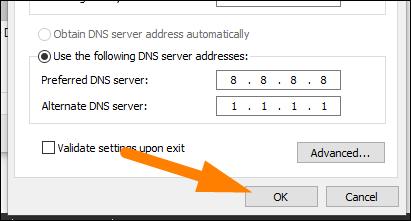 """Tapez les adresses du serveur DNS, puis cliquez sur """"D'ACCORD."""""""