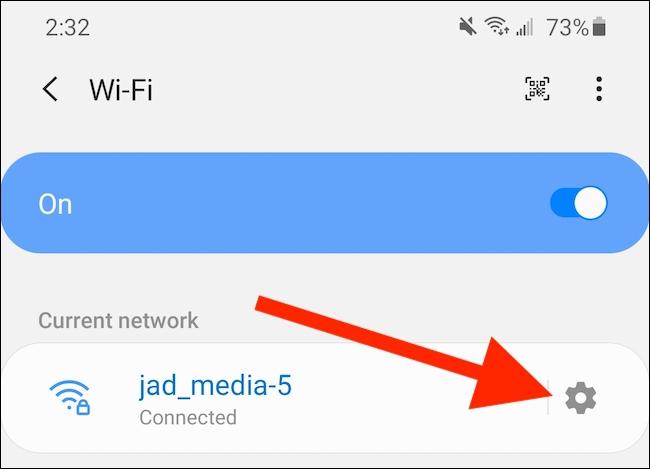 Appuyez sur l'icône du menu Paramètres avancés du réseau