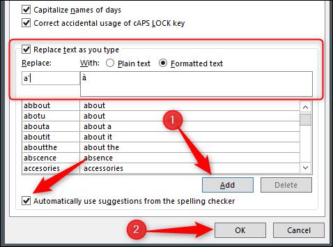 Utilisation de la correction automatique dans Word