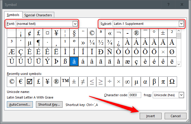 Insertion de symboles à l'aide de la fonction d'insertion