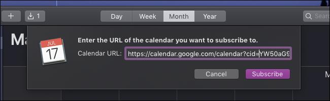 URL du calendrier macOS ics