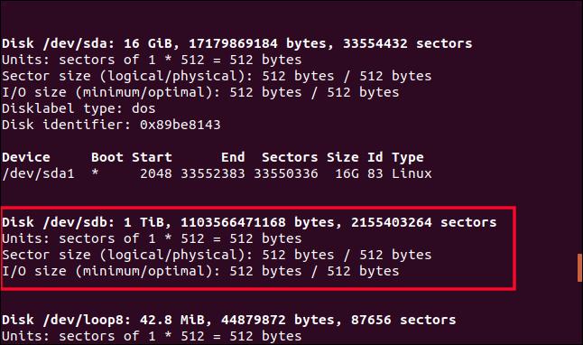 Sortie de fdisk dans une fenêtre de terminal avec / dev / sdb en surbrillance