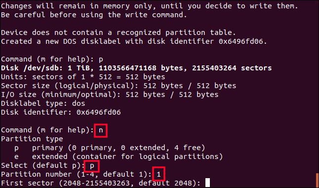 création d'une partition avec fdisk dans une fenêtre de terminal