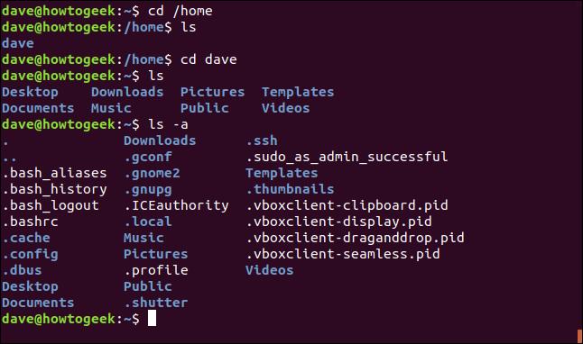 cd / home et d'autres commandes pour tester le répertoire / home dans une fenêtre de terminal