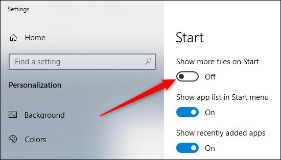 activer afficher plus de tuiles sur l'option de démarrage