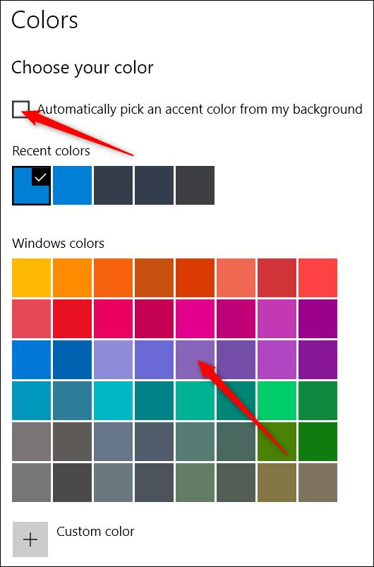 choisir les couleurs dans l'application des paramètres