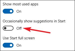 désactiver les suggestions d'affichage occasionnel dans l'option de démarrage