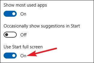 sélectionnez l'option utiliser démarrer en plein écran dans les paramètres