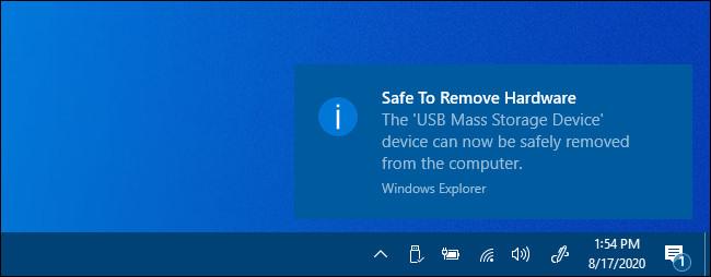 """UNE """"Retirer le matériel en toute sécurité"""" notification dans Windows 10."""
